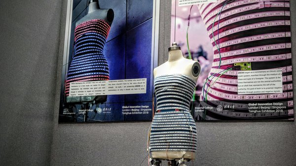 A dress made out of 15 meters of LEDs and photoresistor sensors at Tsinghua University