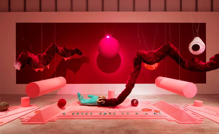 installation view of Tai Shani's work Dark Continent