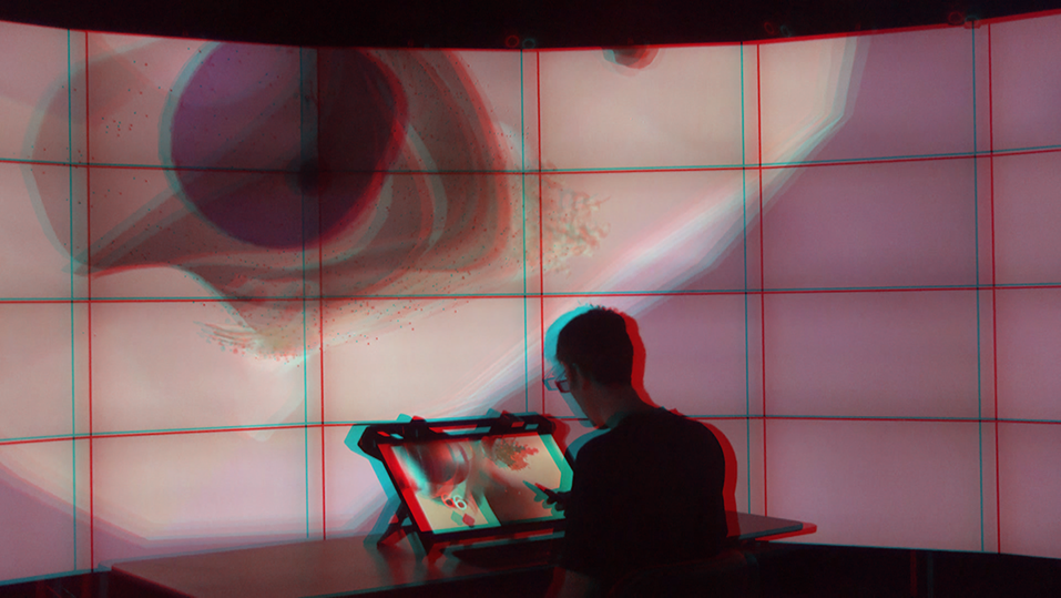 Stereoscopic Space Map connecting two stereoscopic displays – CAVE2 at Monash University and zSpace – via server-client architecture (Anaglyph Red/Cyan Stereo Image).