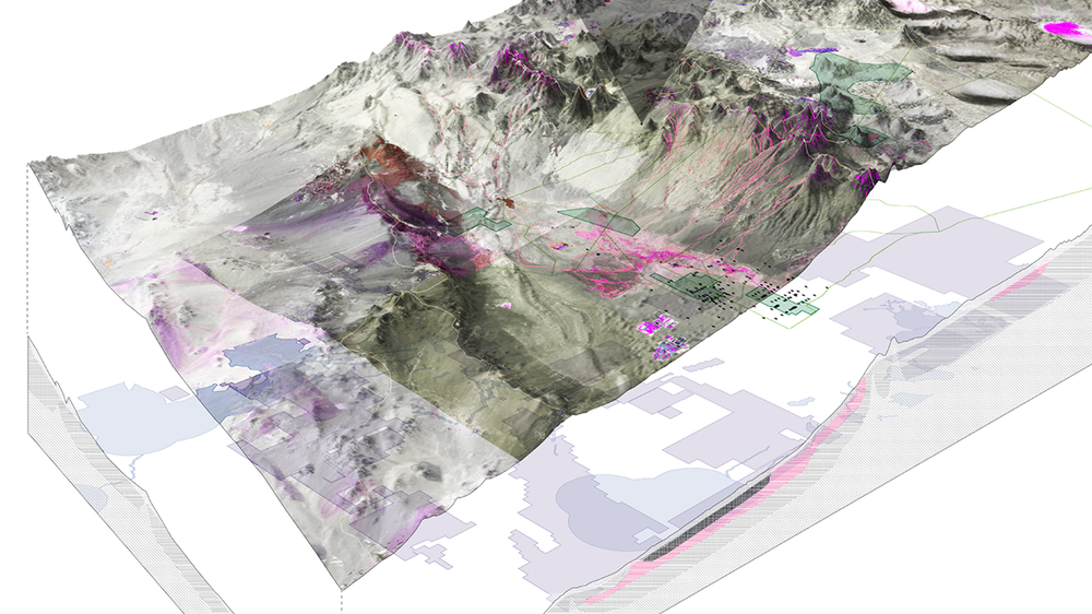 Visualisation of stratified land, water and airspace rights in the watershed of the Salar de Atacama