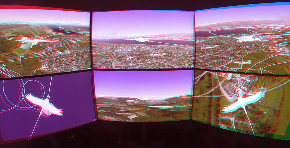 Concept and Setup of Tiled Stereoscopic 3D Display Wall at University of Konstanz, here: Web-based analysis of collective bird behaviour (Anaglyph Red/Cyan Stereo Image).