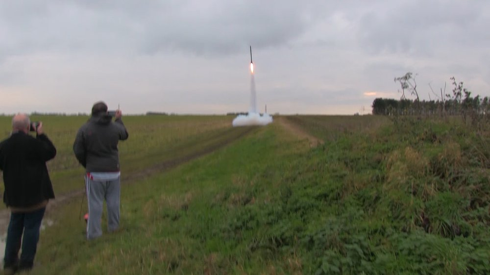 Mike Hoffman launches his 9ft tall rocket 'Bulletproof'