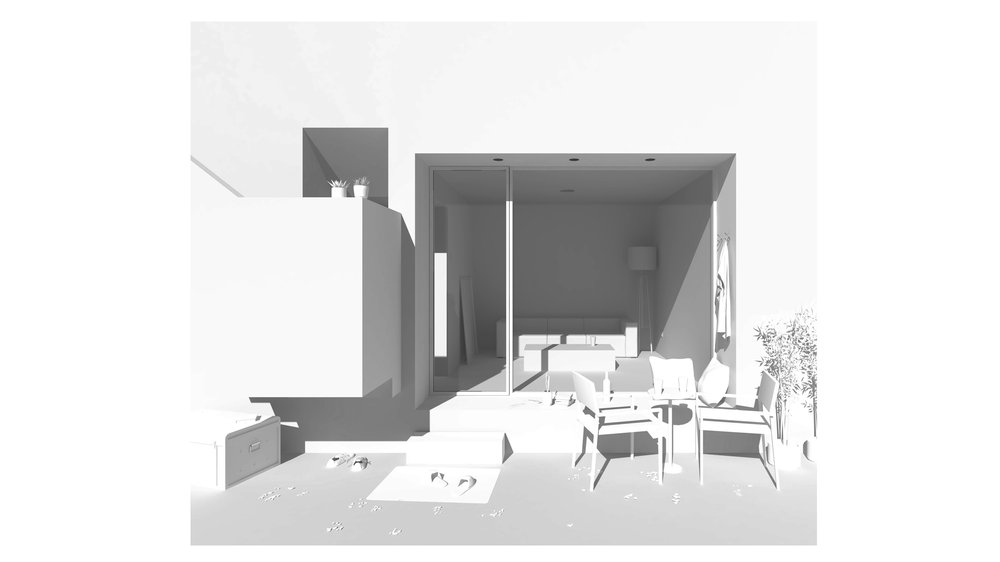 A Courtyard and a Living Room