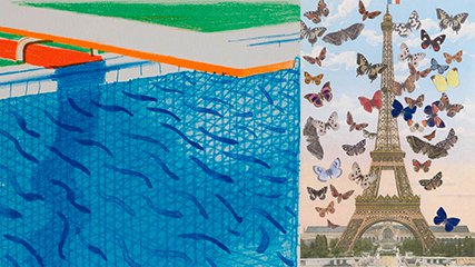 Details of two paintings: a diving board over a swimming pool, and the Eiffel Tower surrounded by butterflies.