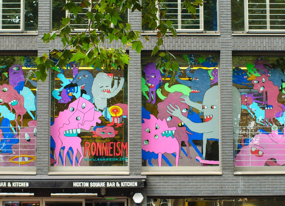 Hoxton window project, illustration on Hoxton square.