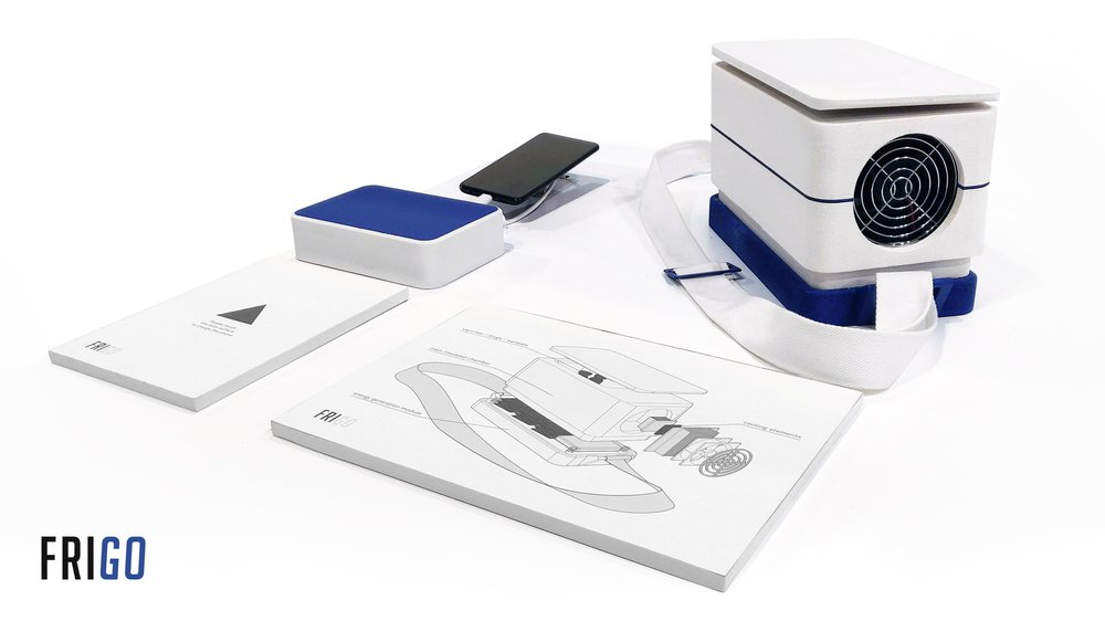 Frigo is an actively cooled carrier, for vaccines, drugs and samples, powered by the motion of the person carrying it