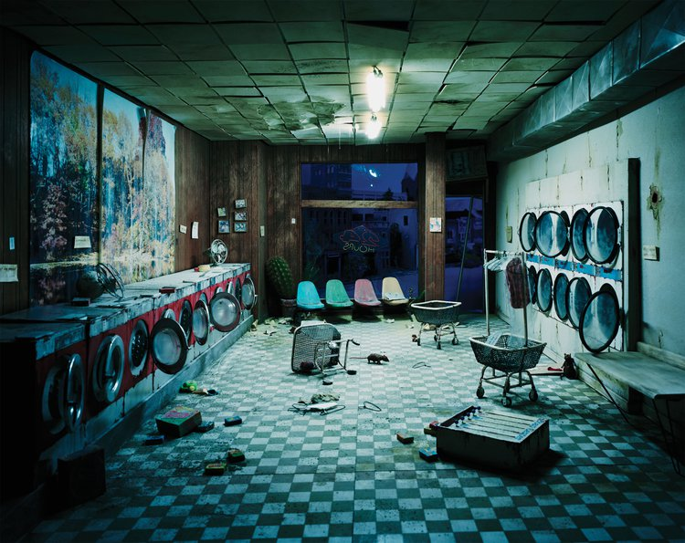 Lori Nix, Laundrette, 2012. Large-scale models as tools for forensic analysis.