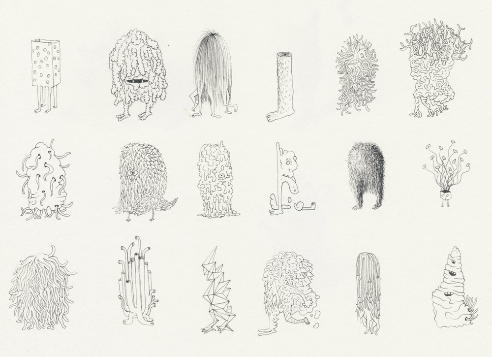 Drawings exploring classification systems in a speculative world.