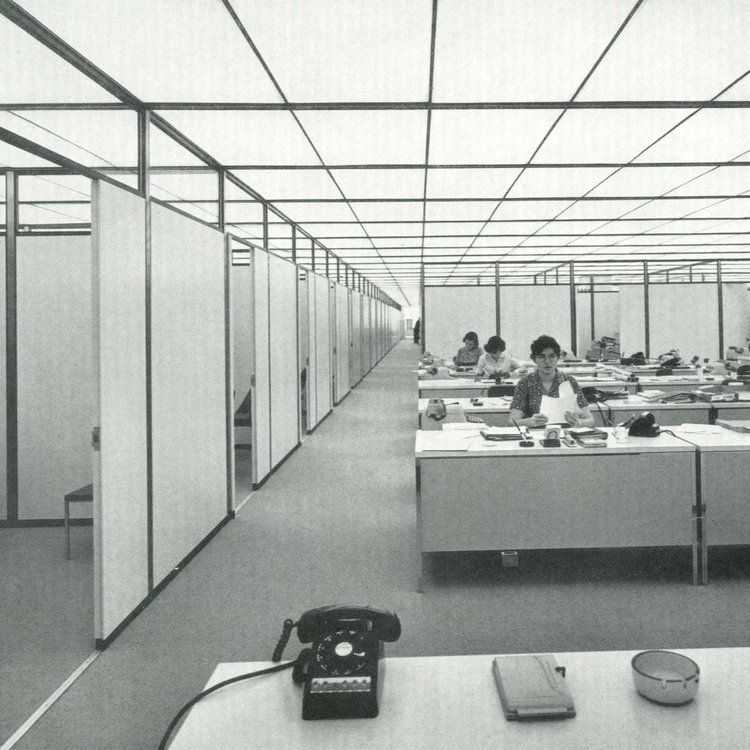 Workers at the Union Carbide Building, New York (SOM, 1957-60). Modernist office spaces began incorporating new synthetic petrochemical materials in their interior design, office staples and printers. Photo: Ezra Stoller / Esto