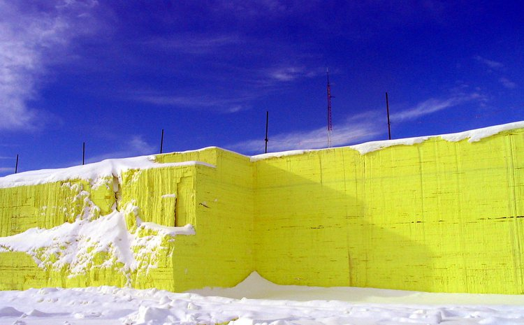 Charlotte Toro, Four Yellow Ziggurats (ADS3, RCA 2019/20) traced the 25-ft tall pyramids of sulphur extracted from tar sands in Alberta, Canada. Photo: Gord McKenna
