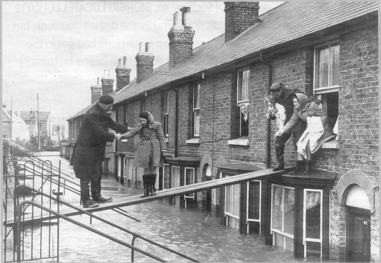 People leaving their homes in Whitstable after the North Sea Flood, 1953. Photo: Canterbury City Council