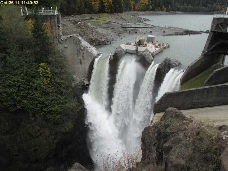Glines Canyon dam removal to restore the health of the Elwha river. Photo: USGS, 2016
