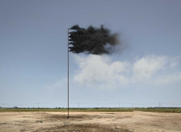 John Gerrard, Western Flag (Spindletop, Texas), 2017, depicts the site of the 'Lucas Gusher' - the world's first major oil find - in Spindletop, Texas in 1901, now barren and exhausted