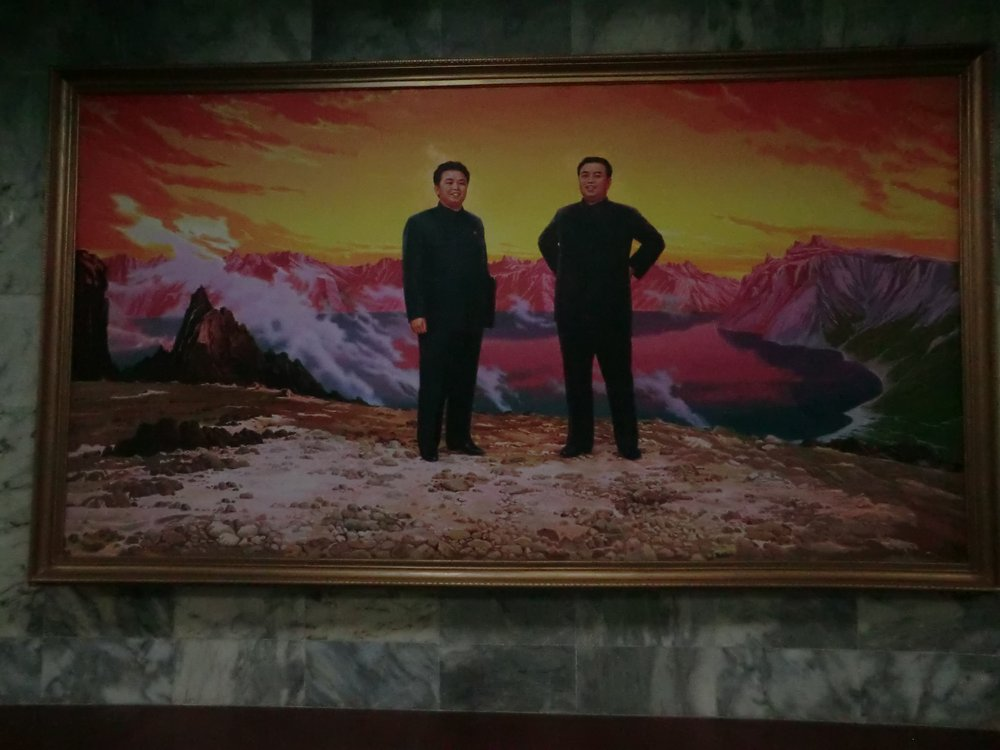 Painting of Kim Il Sung and Kim Jong Il, Pyongyang, Democratic People's Republic of Korea