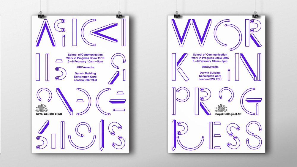 Visual Communication students' specially designed modular typeface in use
