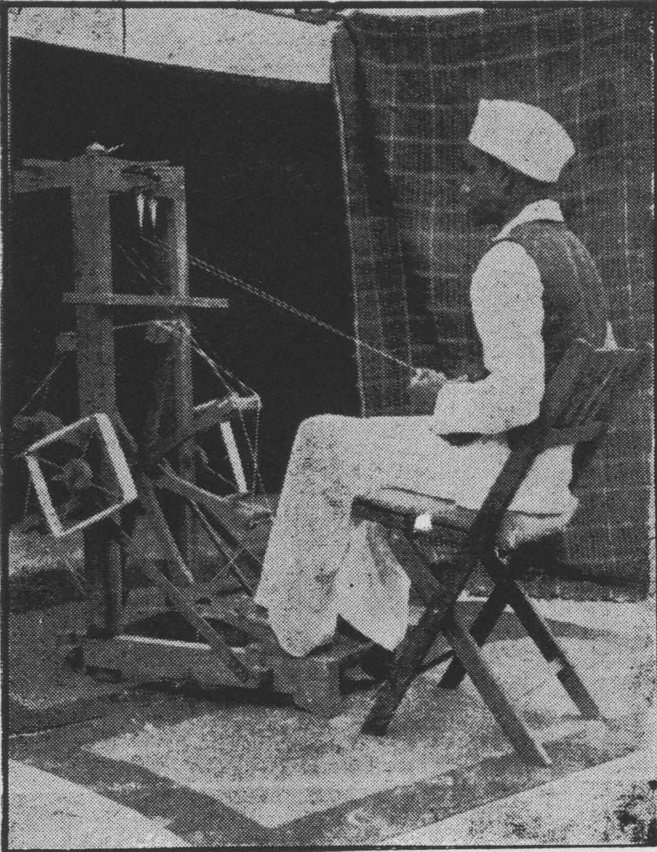 A khadi worker spinning at the Magan charkha, a foot-operated device originally designed by Prabhudas Gandhi circa 1928.