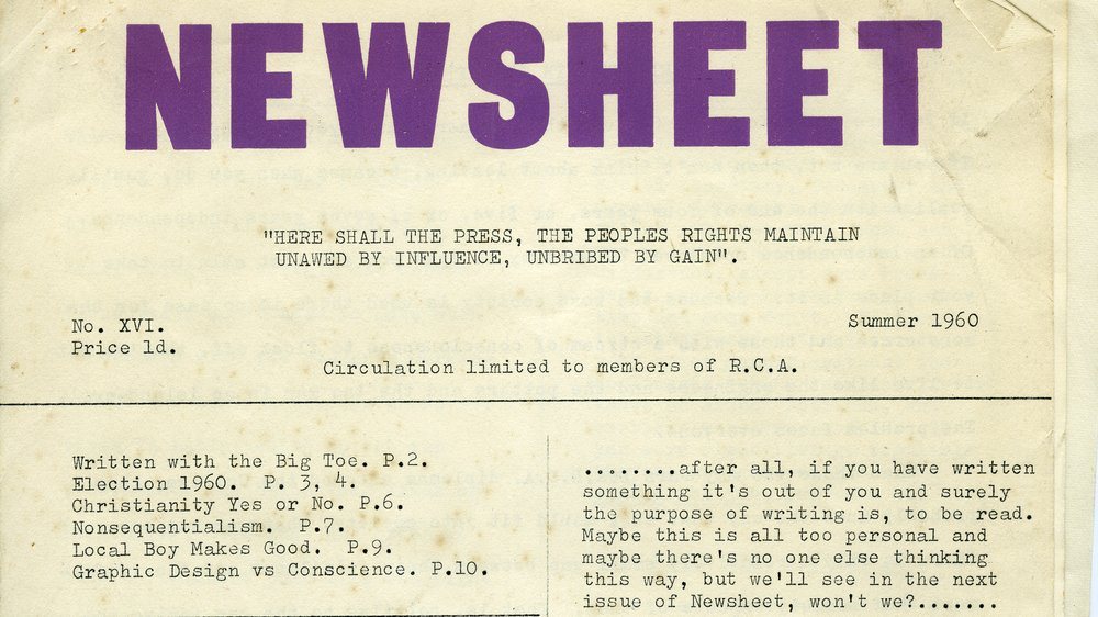 Cover of Newsheet, No.16, Summer 1960, Gerald Nason papers, Special Collections.