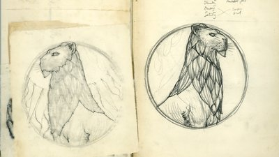 Pages from one of Henry Wilson's sketchbooks, design for silver Lady Altar in St Bartholomew's church, Brighton, c.1902; Henry Wilson archive, Special Collections.