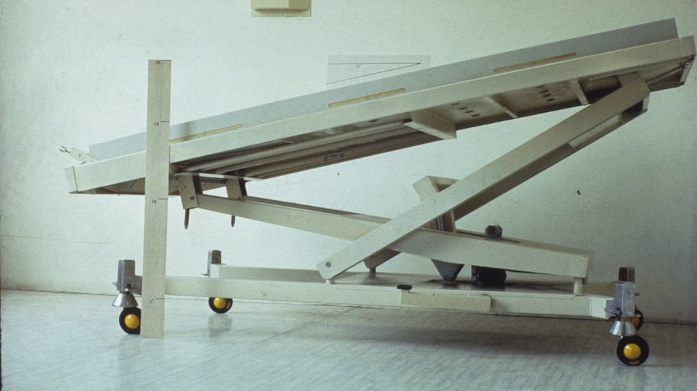 King's Fund bed: prototype tilted with measures, Kenneth Agnew photographic collection, Special Collections.