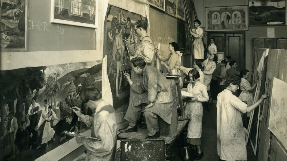 Painting students in the Mural Room, c.1936. Margery Dennis Hall collection.