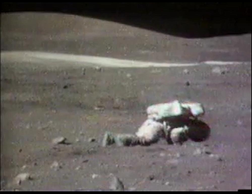 Apollo 17 Astronaut Falls on the Moon