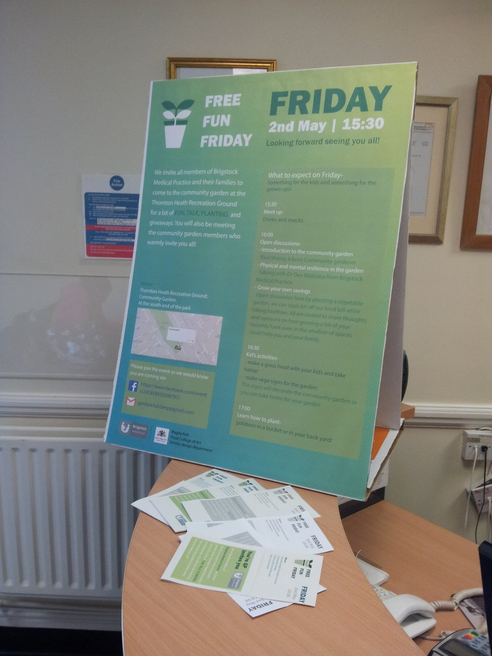 inviting patients to the a FREE FUN FRIDAY event at the community garden