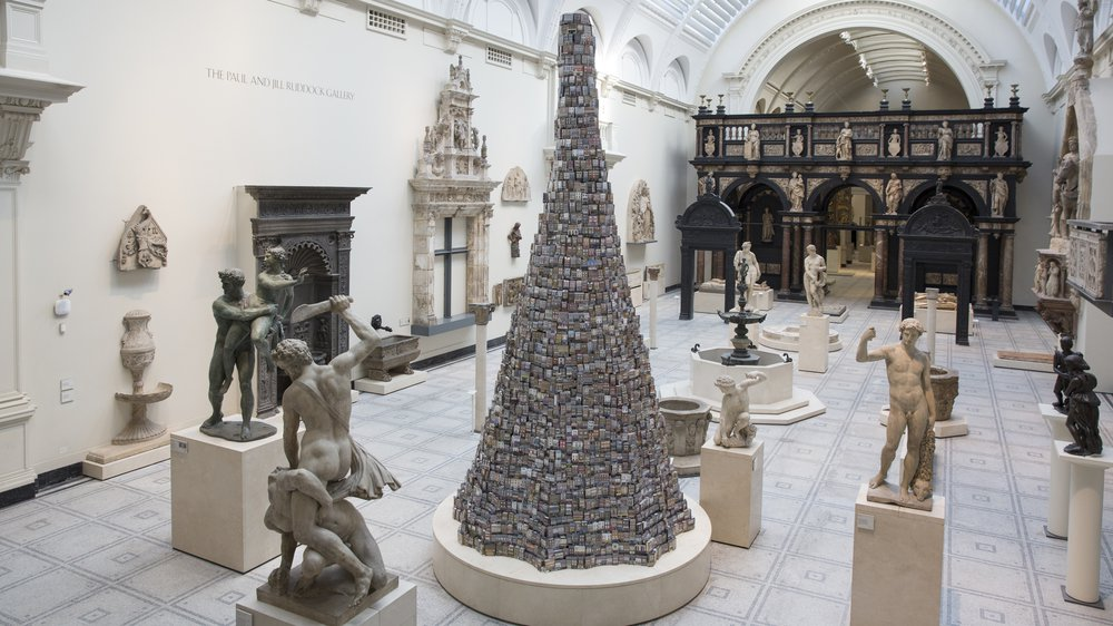 Barnaby Barford's 'The Tower of Babel' installed in the V&A's Medieval and Renaissance Galleries