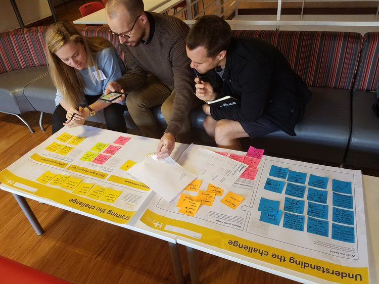 Three people look at design mind map