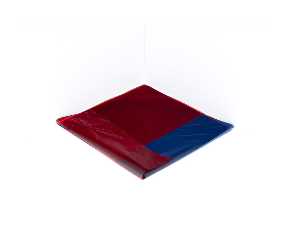 Crossed Fold #1 (Red on Blue 0746)
