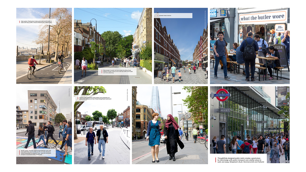 Visualisations of Healthy Streets / walking and cycling as the only conceptualisation of healthy living / planning for able-bodied workforce [Source: Healthy Streets for London Plan 2017 (Transport for London / Mayor of London)]