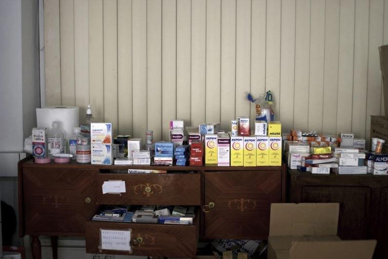 Pharmacy module at the Notara 26 refugee accomodation
