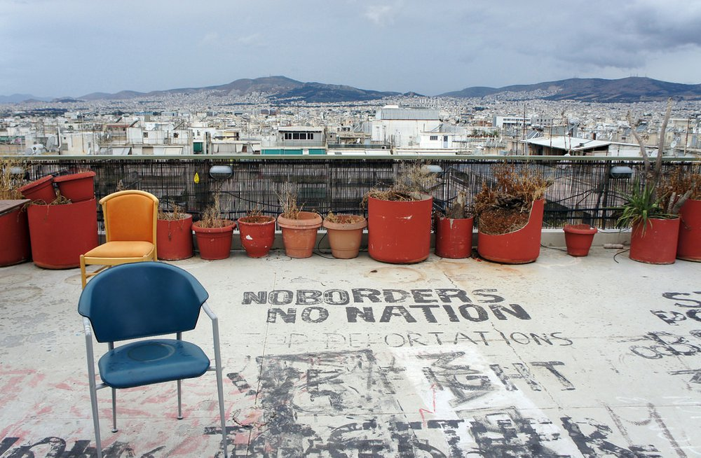 Photo of Athens from the terrace of the City Plaza Hotel refugee accomodation