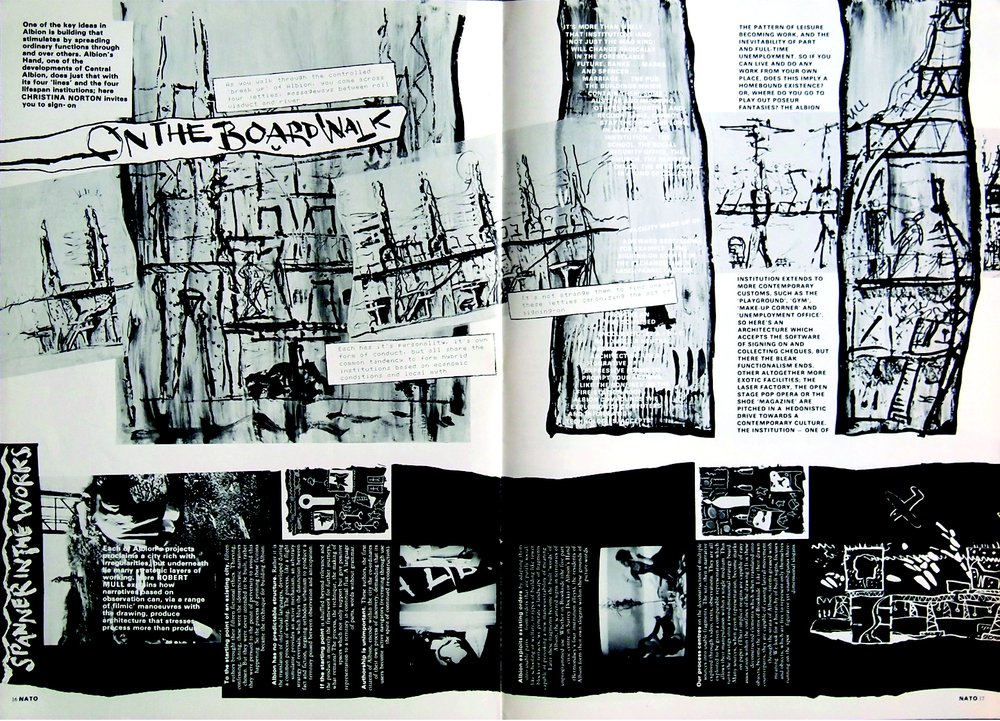 'On the Boardwalk' and 'Spanner in the Works'– spread from issue 1, NATØ magazine, by Christina Norton and Robert Mull