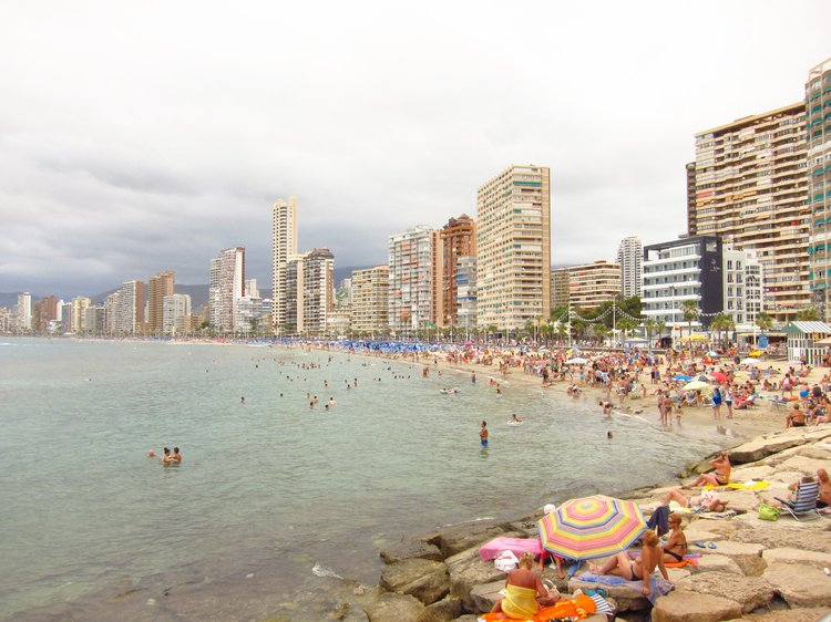 Urbanisation of a fabricated coastline, Benidorm, Spain