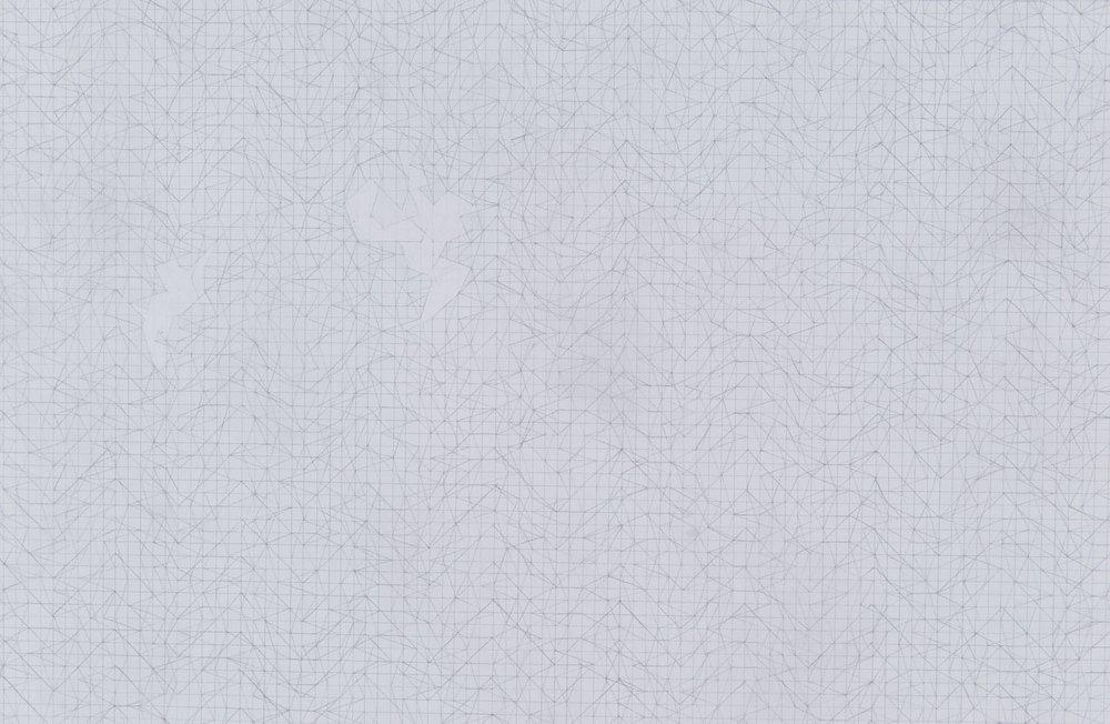 Three Panel Mesh Drawing with Erasures (detail)
