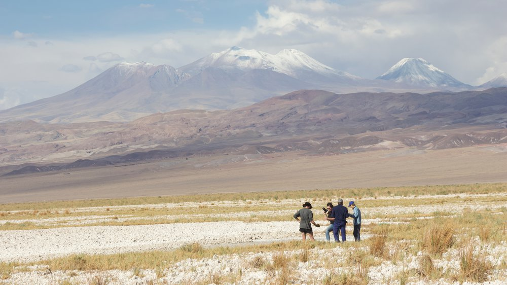 Collecting samples in the lagoons of the Salar de Atacama, 2018