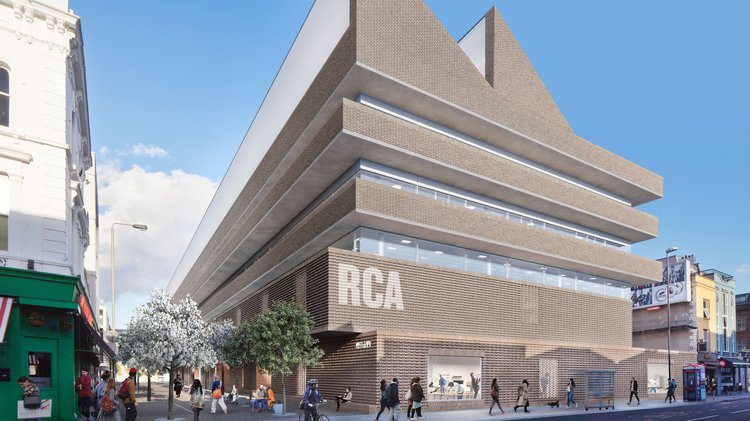 Architecture render of new Battersea building: brown brick with angular roof