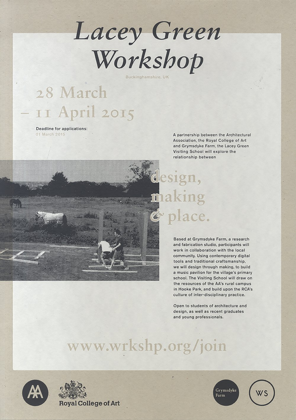 Screen-printed poster for the Lacey Green workshop