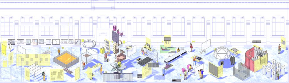 On Residence, Oslo Architecture Triennale 2016: After Belonging. Design by Lluís A. Casanovas Blanco, Ignacio G. Galán, Carlos Mínguez Carrasco, Alejandra Navarrete Llopis, Marina Otero Verzier. Drawing by Eduardo Tazon.