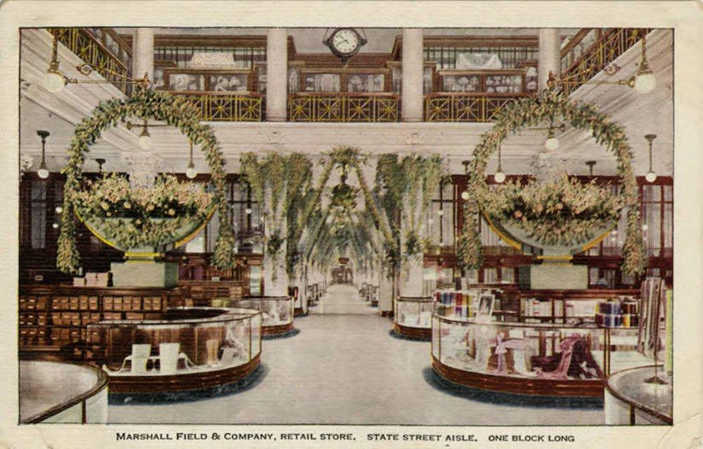 "Postcard featuring Marshall Field & Company's State Street Aisle ""One Block Long."" Printed by V. O. Hammon Publishing Company, Chicago, Illinois, ca. 1908. Courtesy Illinois Digital Archives."