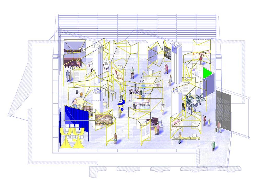 In Residence, Oslo Architecture Triennale 2016: After Belonging. Design by Lluís A. Casanovas Blanco, Ignacio G. Galán, Carlos Mínguez Carrasco, Alejandra Navarrete Llopis, Marina Otero Verzier. Drawing by Eduardo Tazon.