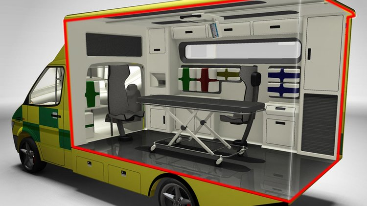 Rendering of cutaway of ambulance