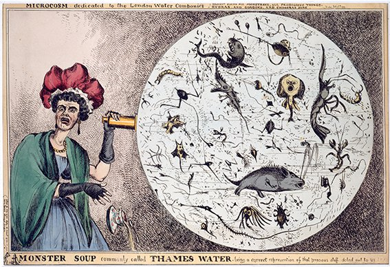 William Heath, Monster soup commonly called Thames water, being a correct representation of that precious stuff doled out to us!!!, 1828. Image: British Museum