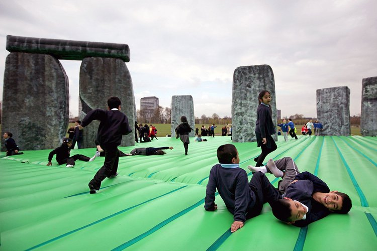 Jeremy Deller's Sacrilege (2012) invited people to bounce on an inflatable replica of the Stonehenge World Heritage site. Access to the real thing has been restricted since the 1980s following violent clashes between festival-goers and the police.
