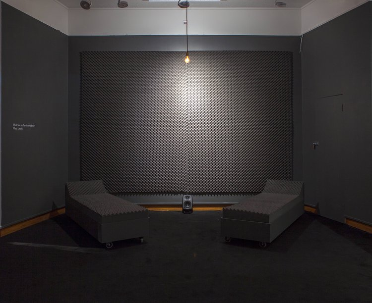 Sound proof room with seating