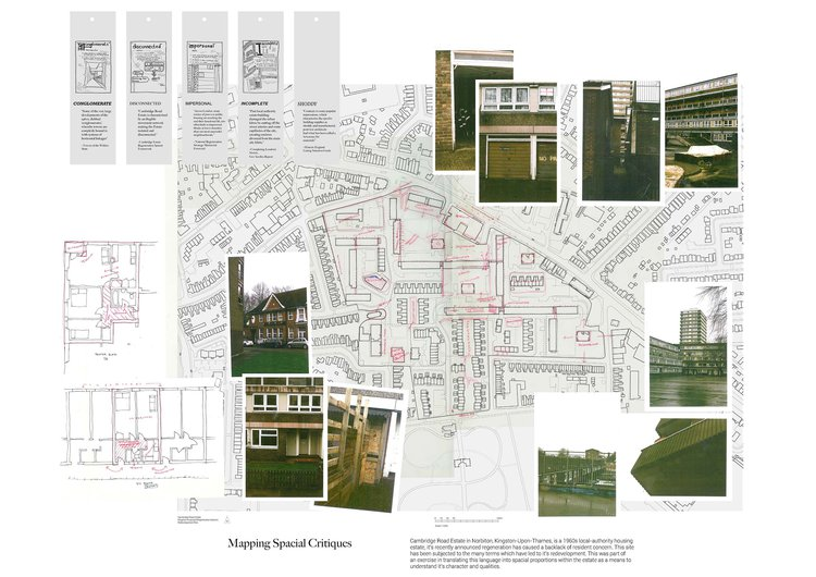 photographs and map showing planning of local area