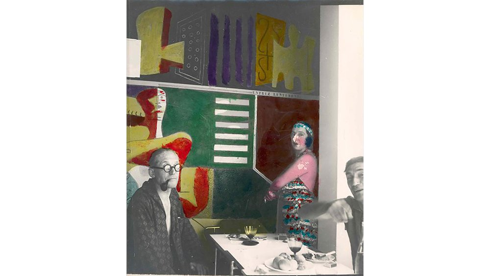 Collage of Le Corbusier and his wife and Jean Badovici