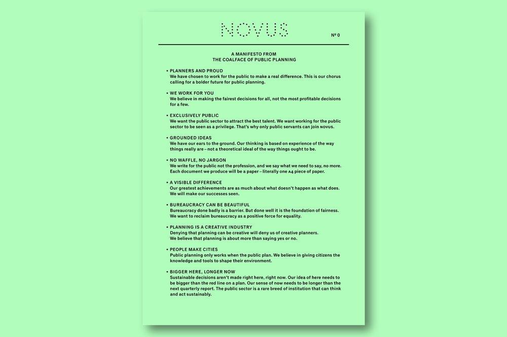 NOVUS: A Manifesto from the Coalface of Public Planning