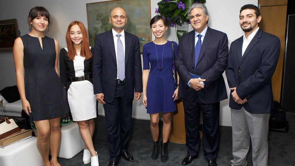Abraaj Innovation Scholars Derya Adiyaman, Burachat Ratanasuwan, Ermina Takenova and Sheroy Katila with Arif Navqi and Sajid Javid MP