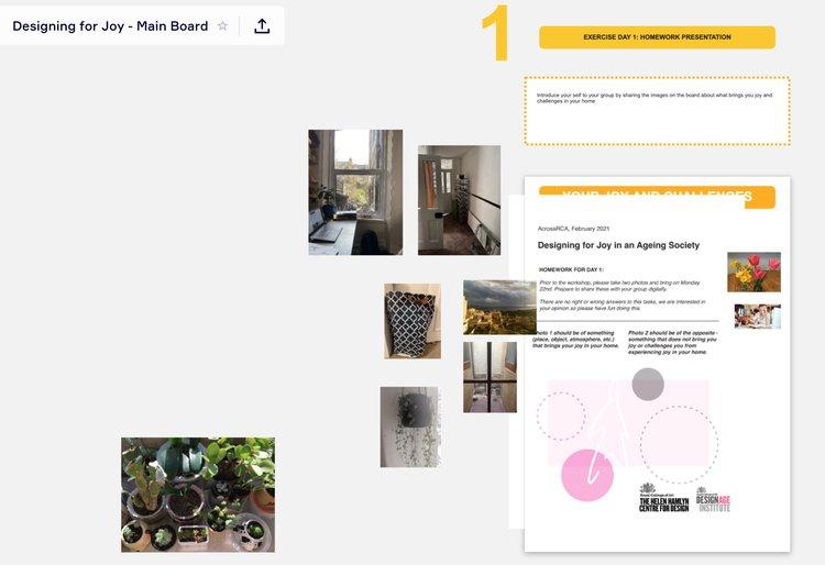 screenshot of a miro board from an online AcrossRCA workshop